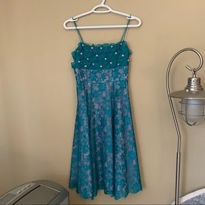 """1990's Vintage """"Betsey Johnson"""" Teal Lace Dress"""